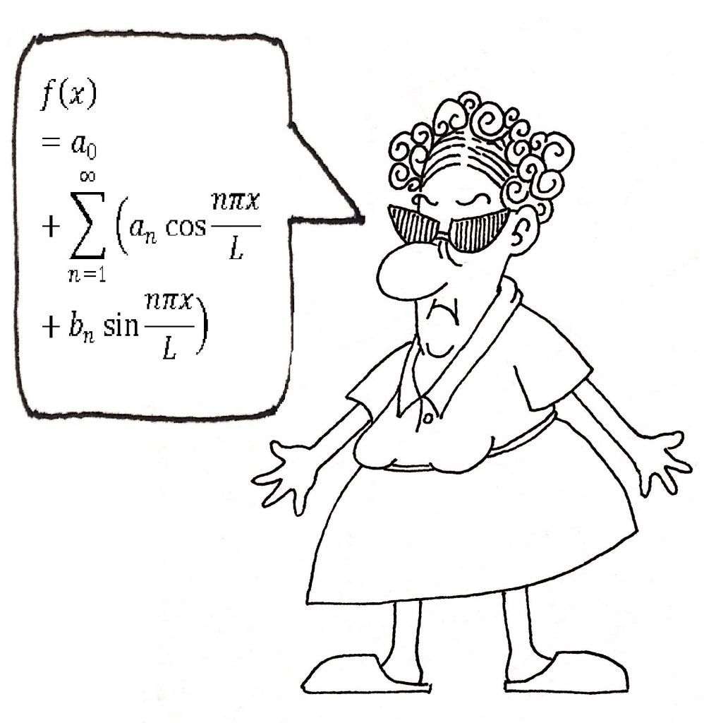 cartoon woman speaking math equation