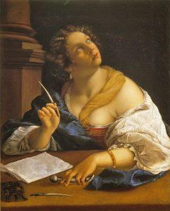 renaissance woman writing pensively