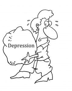 Woman woman holding rock saying depression