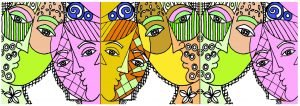 drawing of strange and multicolored couples