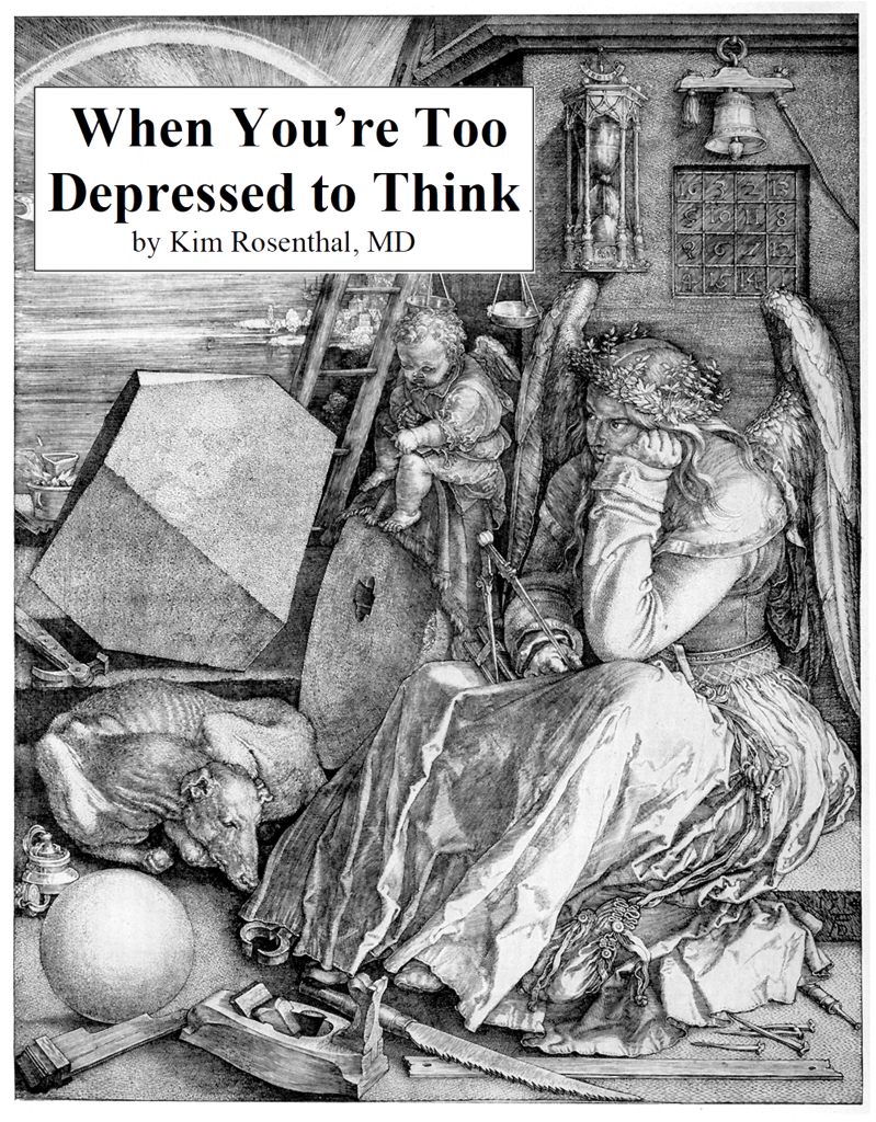 "cover to booklet ""When you're too depressed to think"""